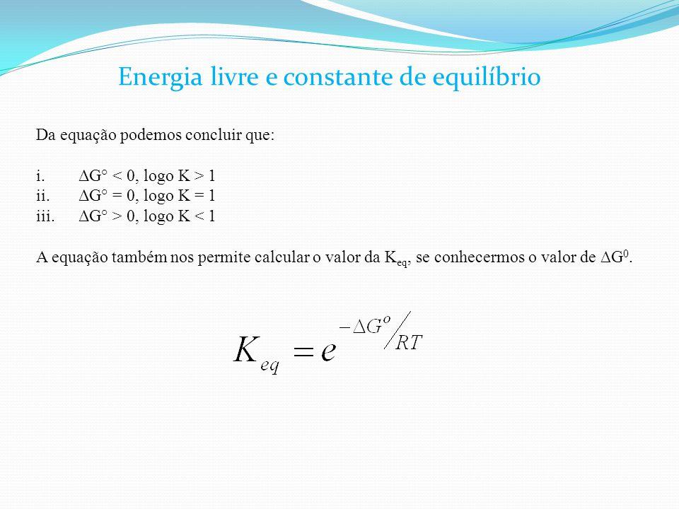 Da equação podemos concluir que: i.ΔG° 1 ii.ΔG° = 0, logo K = 1 iii.ΔG° > 0, logo K < 1 A equação também nos permite calcular o valor da K eq, se conh