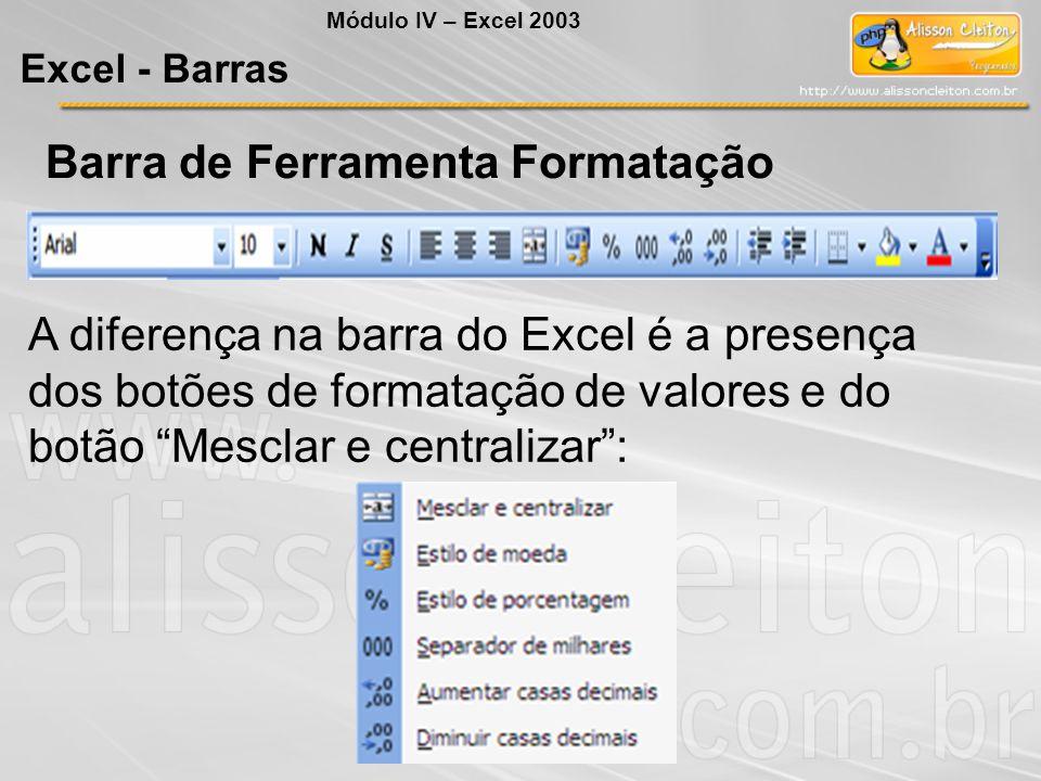 """Barra de Ferramenta Formatação A diferença na barra do Excel é a presença dos botões de formatação de valores e do botão """"Mesclar e centralizar"""": Módu"""
