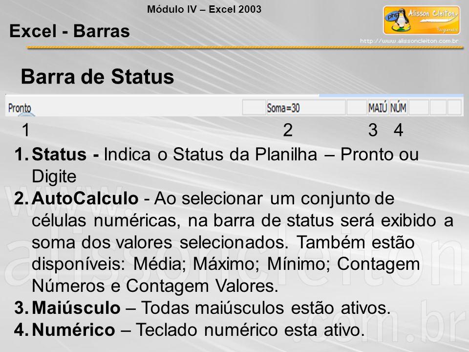 Módulo IV – Excel 2003 Excel - Barras Barra de Status 1234 1.Status - Indica o Status da Planilha – Pronto ou Digite 2.AutoCalculo - Ao selecionar um