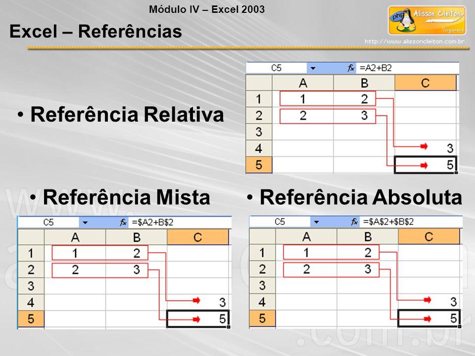 Referência Mista Referência Absoluta Referência Relativa Módulo IV – Excel 2003 Excel – Referências