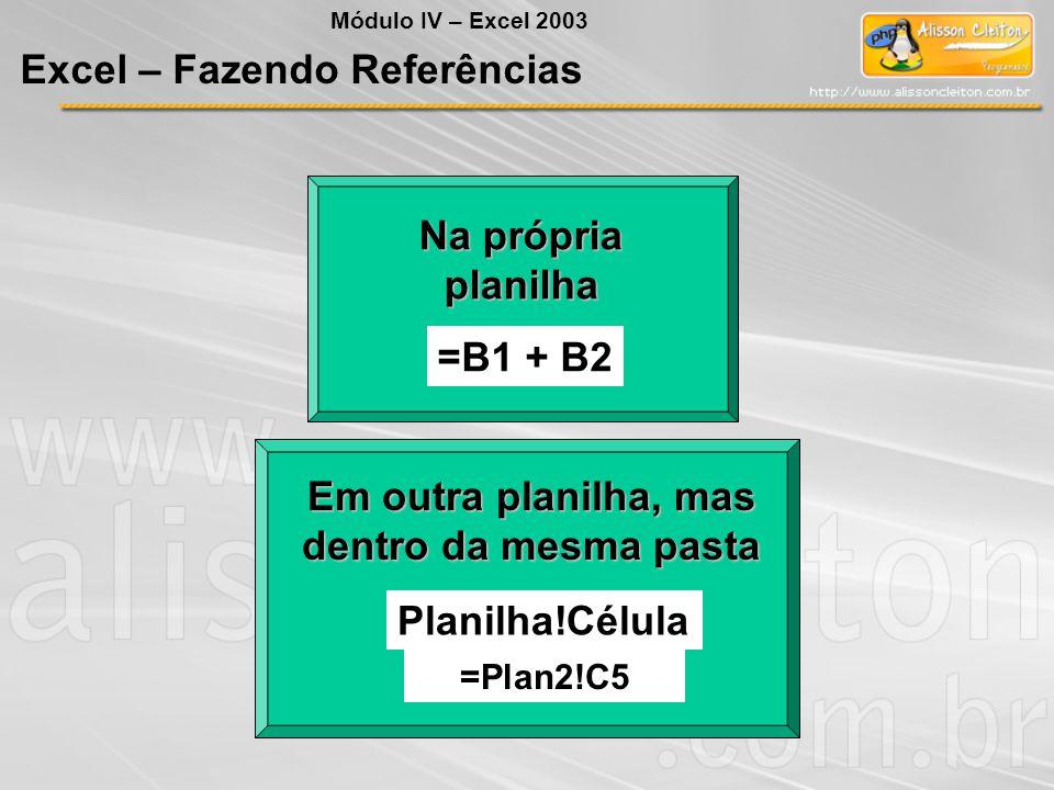 Na própria planilha =B1 + B2 Em outra planilha, mas dentro da mesma pasta Planilha!Célula =Plan2!C5 Módulo IV – Excel 2003 Excel – Fazendo Referências