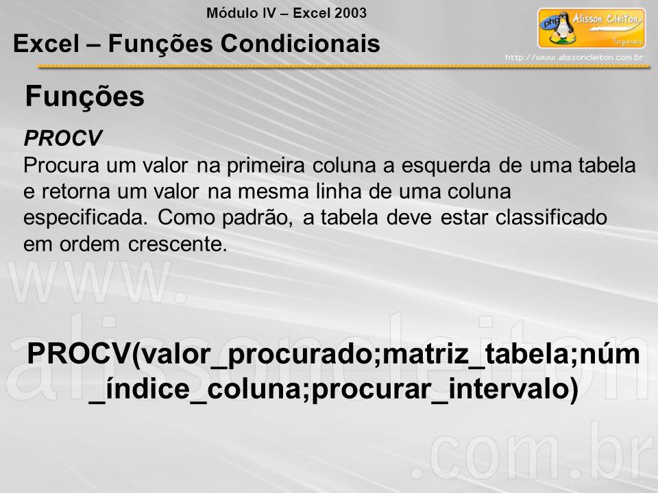 Funções PROCV Procura um valor na primeira coluna a esquerda de uma tabela e retorna um valor na mesma linha de uma coluna especificada. Como padrão,