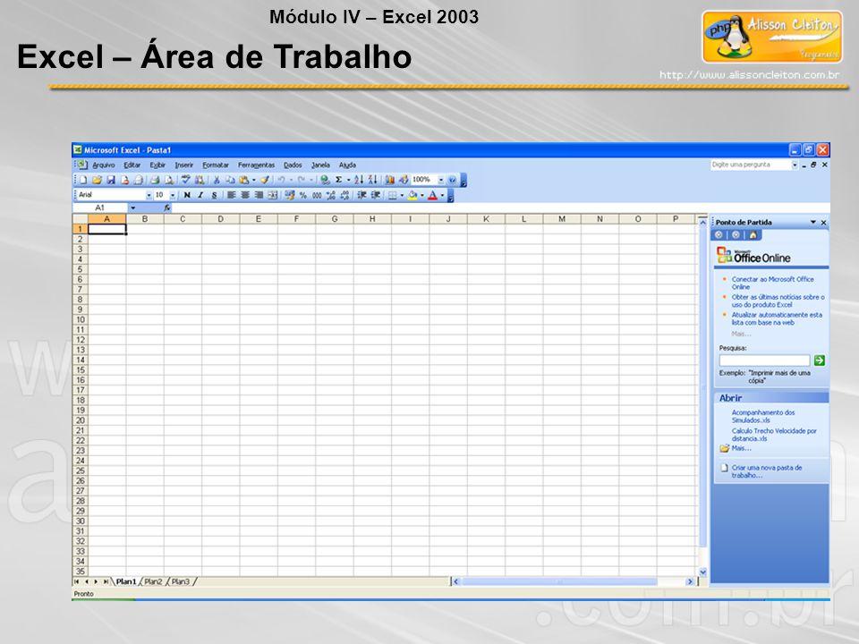 Excel – Área de Trabalho Módulo IV – Excel 2003