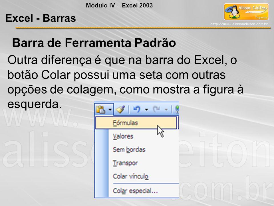 Outra diferença é que na barra do Excel, o botão Colar possui uma seta com outras opções de colagem, como mostra a figura à esquerda. Módulo IV – Exce