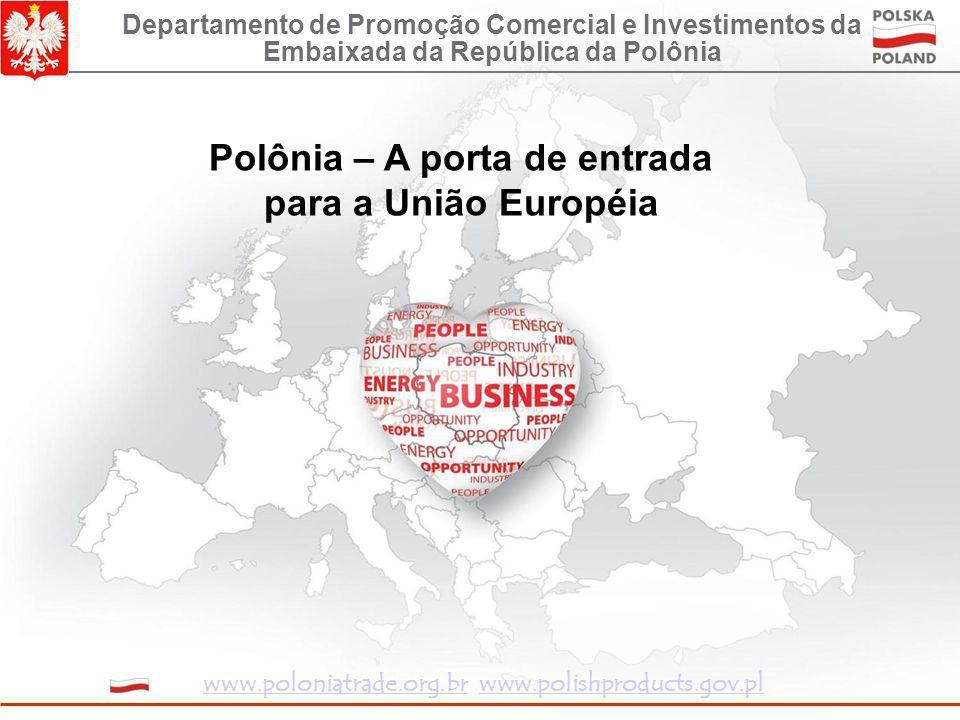 Polônia – A porta de entrada para a União Européia Departamento de Promoção Comercial e Investimentos da Embaixada da República da Polônia www.poloniatrade.org.brwww.poloniatrade.org.br www.polishproducts.gov.plwww.polishproducts.gov.pl