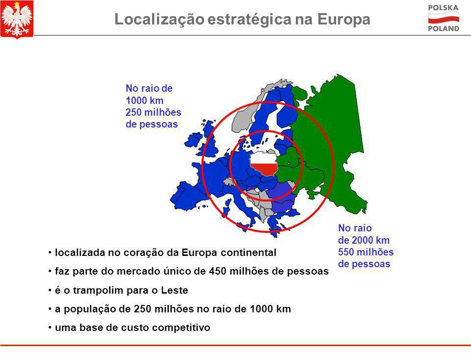 Localização estratégica na Europa No raio de 2000 km 550 milhões de pessoas No raio de 1000 km 250 milhões de pessoas localizada no coração da Europa continental faz parte do mercado único de 450 milhões de pessoas é o trampolim para o Leste a população de 250 milhões no raio de 1000 km uma base de custo competitivo