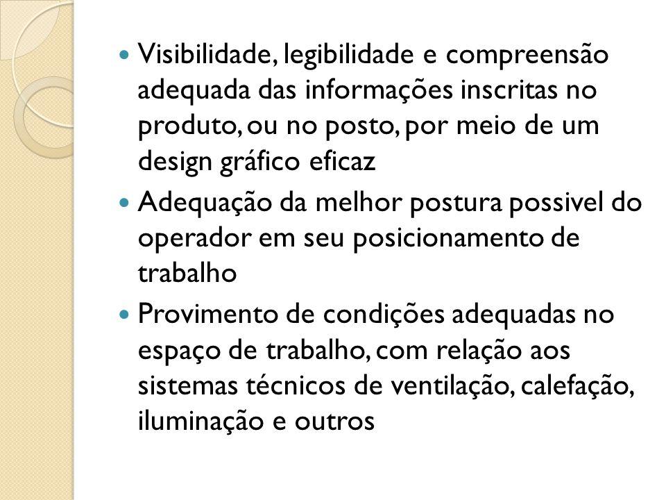 Visibilidade, legibilidade e compreensão adequada das informações inscritas no produto, ou no posto, por meio de um design gráfico eficaz Adequação da