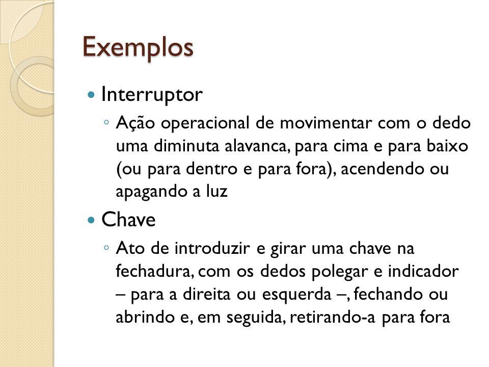 Exemplos Interruptor ◦ Ação operacional de movimentar com o dedo uma diminuta alavanca, para cima e para baixo (ou para dentro e para fora), acendendo