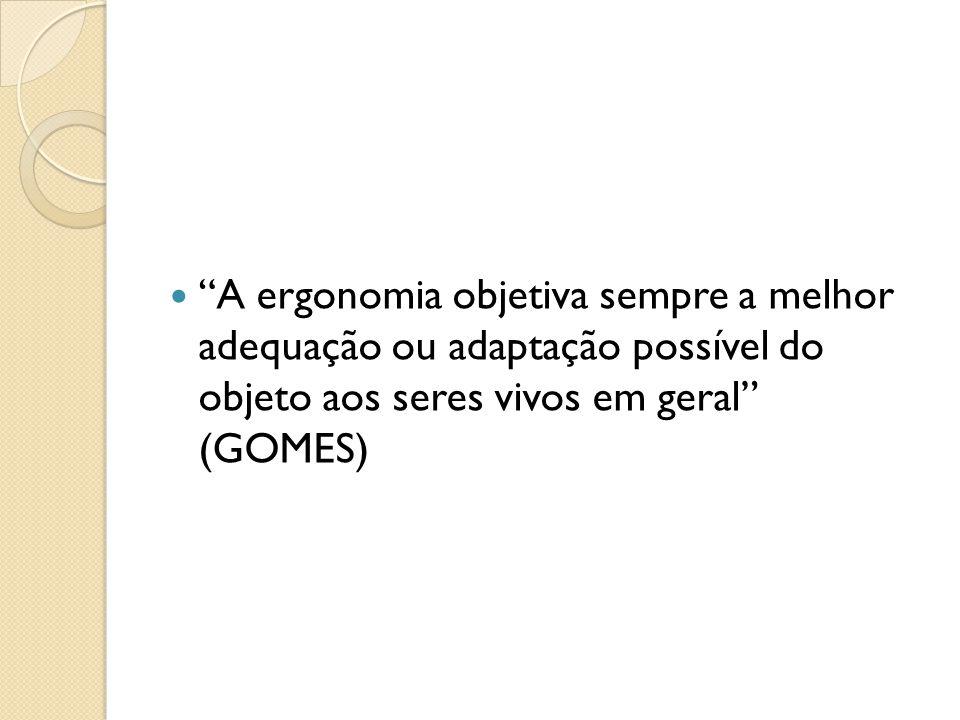 """""""A ergonomia objetiva sempre a melhor adequação ou adaptação possível do objeto aos seres vivos em geral"""" (GOMES)"""