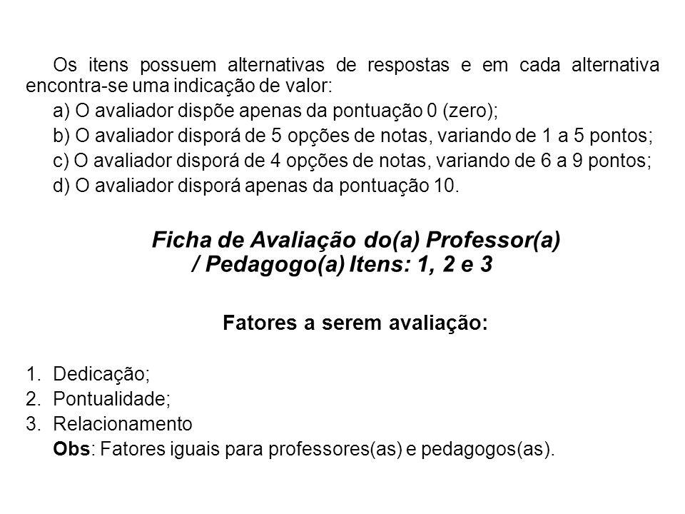 FICHA DE AVALIAÇÃO PROFESSOR(A) E PEDAGOGO(A) EM ESTÁGIO PROBATÓRIO (anexo V da Lei 3.951/2009) Escola Municipal _________________________________________ Professor(a):________________________Matrícula:___________ Área de Atuação: ______________________Turno(s): __________