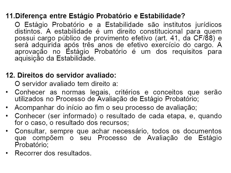 11.Diferença entre Estágio Probatório e Estabilidade.