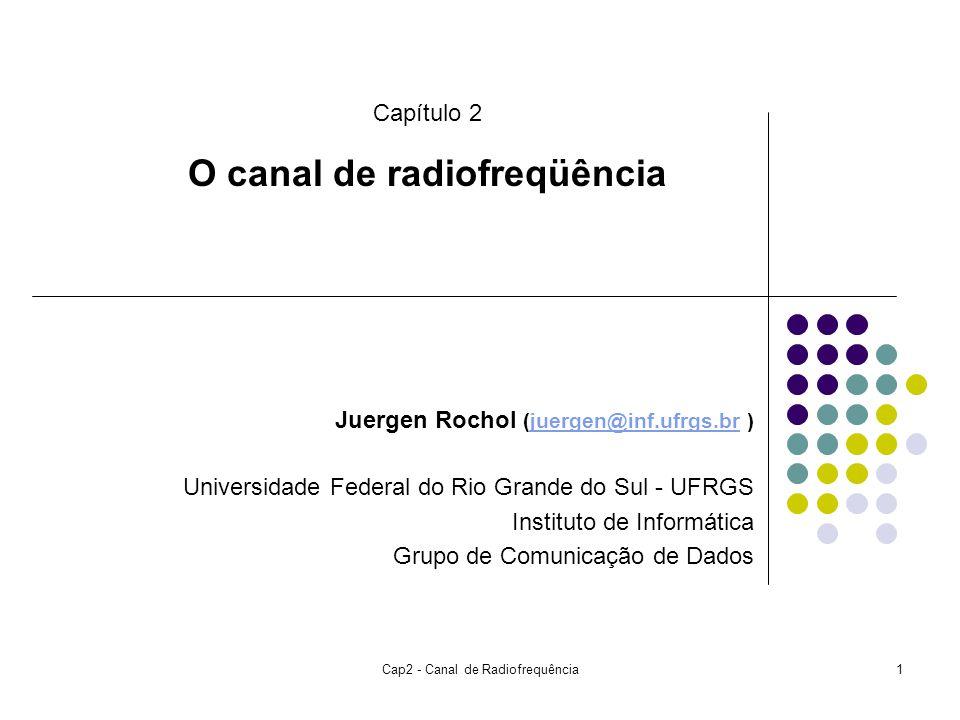 Cap2 - Canal de Radiofrequência1 Juergen Rochol (juergen@inf.ufrgs.br )juergen@inf.ufrgs.br Universidade Federal do Rio Grande do Sul - UFRGS Instituto de Informática Grupo de Comunicação de Dados Capítulo 2 O canal de radiofreqüência