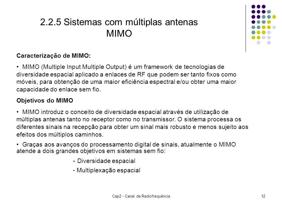 Cap2 - Canal de Radiofrequência12 Caracterização de MIMO: MIMO (Multiple Input Multiple Output) é um framework de tecnologias de diversidade espacial aplicado a enlaces de RF que podem ser tanto fixos como móveis, para obtenção de uma maior eficiência espectral e/ou obter uma maior capacidade do enlace sem fio.