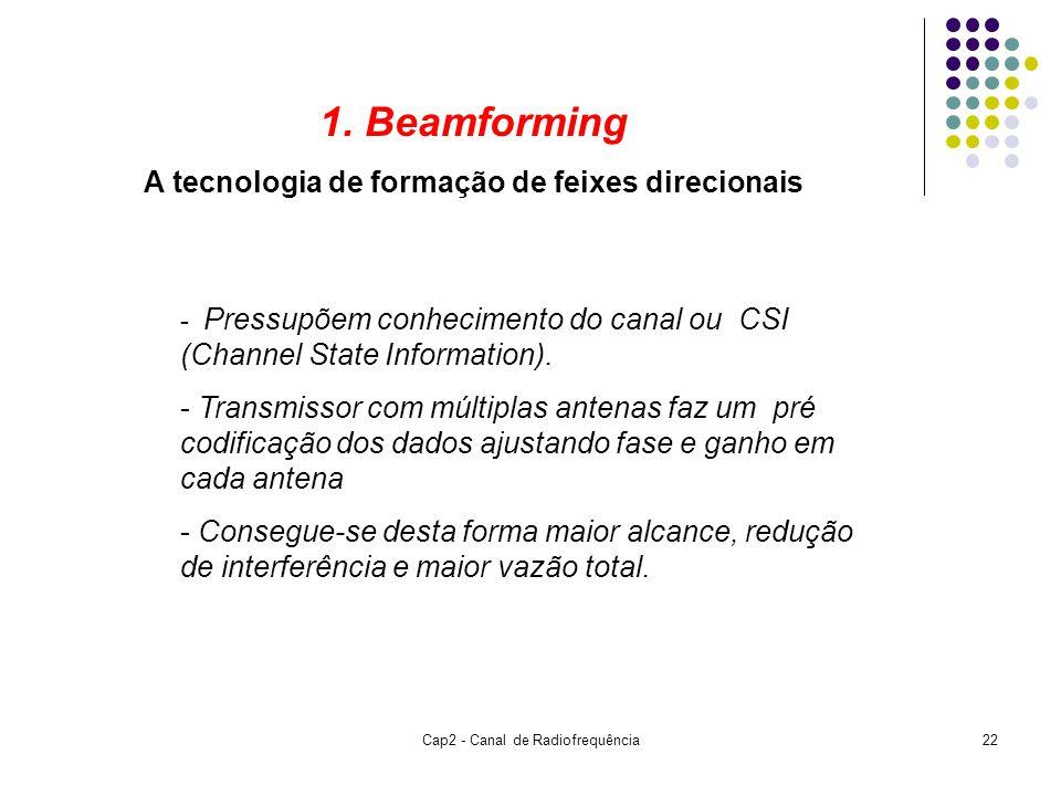Cap2 - Canal de Radiofrequência22 1. Beamforming A tecnologia de formação de feixes direcionais - Pressupõem conhecimento do canal ou CSI (Channel Sta