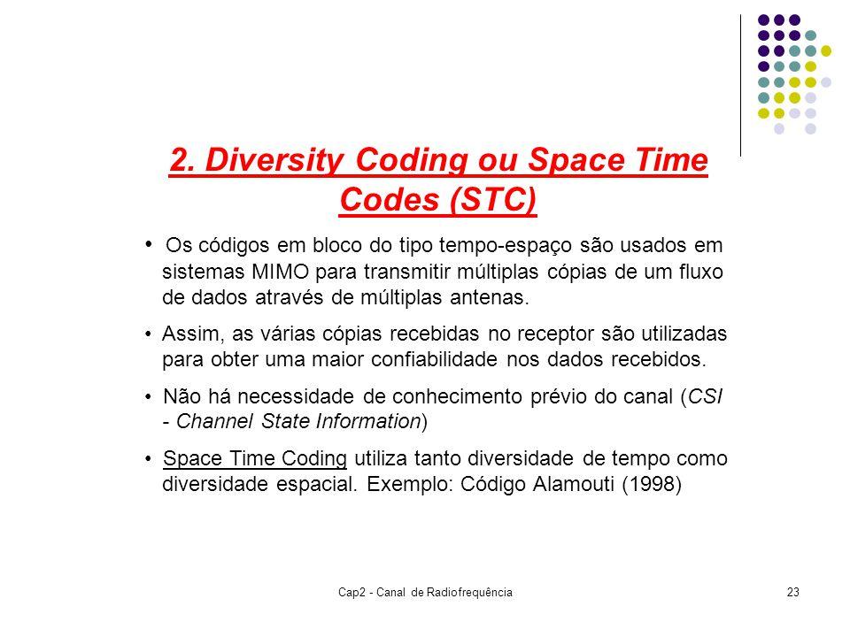 Cap2 - Canal de Radiofrequência23 2. Diversity Coding ou Space Time Codes (STC) Os códigos em bloco do tipo tempo-espaço são usados em sistemas MIMO p