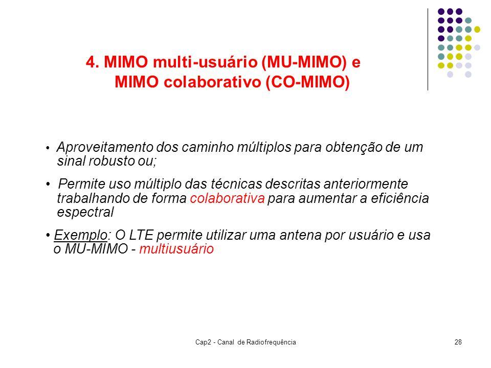 Cap2 - Canal de Radiofrequência28 4. MIMO multi-usuário (MU-MIMO) e MIMO colaborativo (CO-MIMO) Aproveitamento dos caminho múltiplos para obtenção de