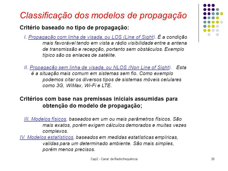 Cap2 - Canal de Radiofrequência30 Classificação dos modelos de propagação Critério baseado no tipo de propagação: I. Propagação com linha de visada, o
