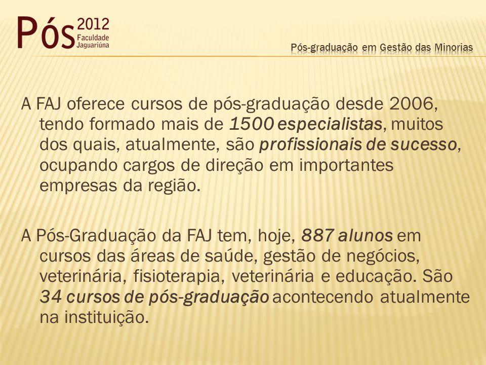 A FAJ oferece cursos de pós-graduação desde 2006, tendo formado mais de 1500 especialistas, muitos dos quais, atualmente, são profissionais de sucesso