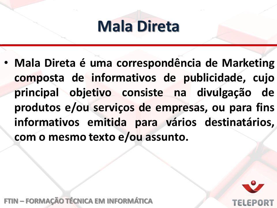 Mala Direta Mala Direta é uma correspondência de Marketing composta de informativos de publicidade, cujo principal objetivo consiste na divulgação de