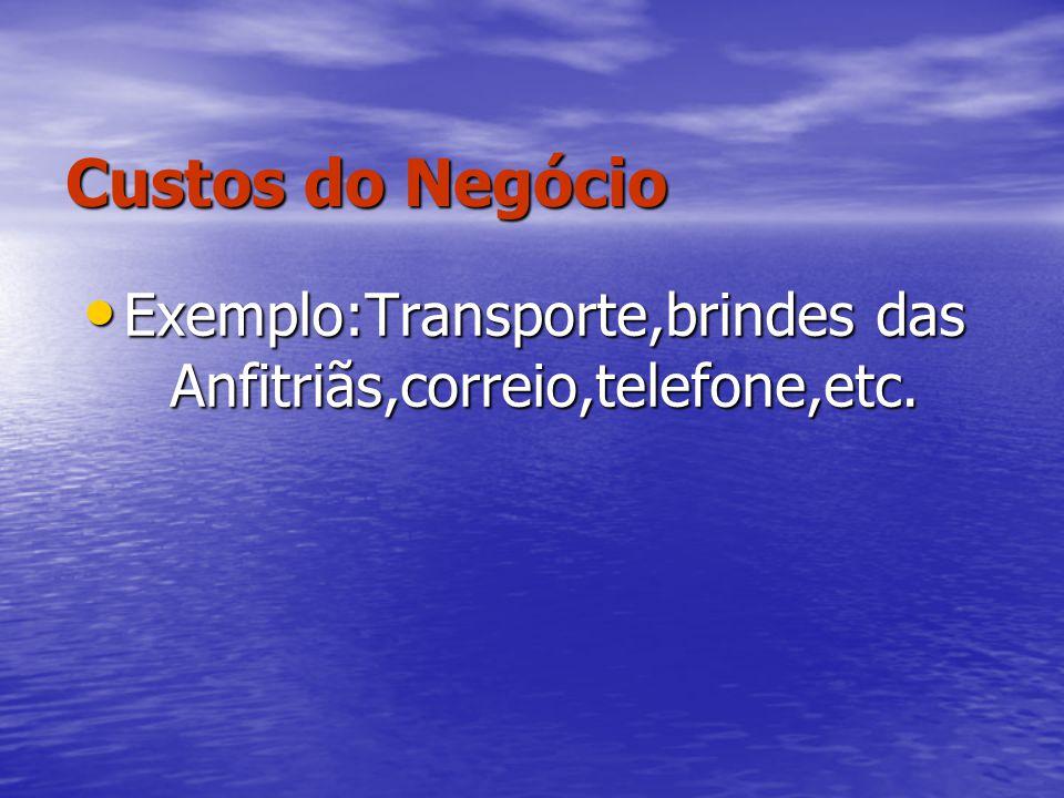 Custos do Negócio Exemplo:Transporte,brindes das Anfitriãs,correio,telefone,etc. Exemplo:Transporte,brindes das Anfitriãs,correio,telefone,etc.