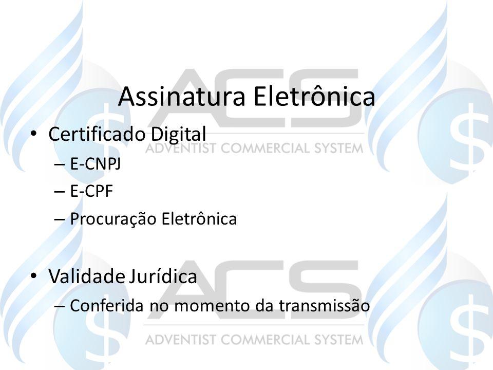 Assinatura Eletrônica Certificado Digital – E-CNPJ – E-CPF – Procuração Eletrônica Validade Jurídica – Conferida no momento da transmissão