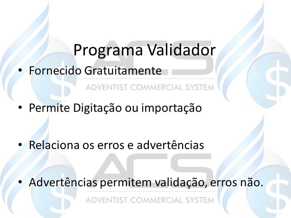 Programa Validador Fornecido Gratuitamente Permite Digitação ou importação Relaciona os erros e advertências Advertências permitem validação, erros nã