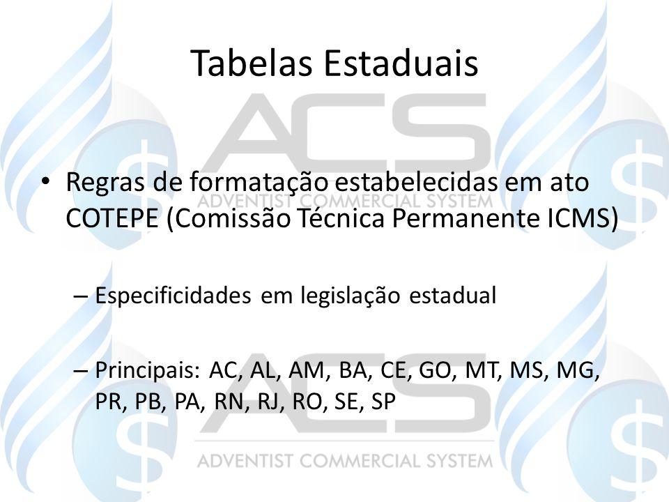Tabelas Estaduais Regras de formatação estabelecidas em ato COTEPE (Comissão Técnica Permanente ICMS) – Especificidades em legislação estadual – Princ