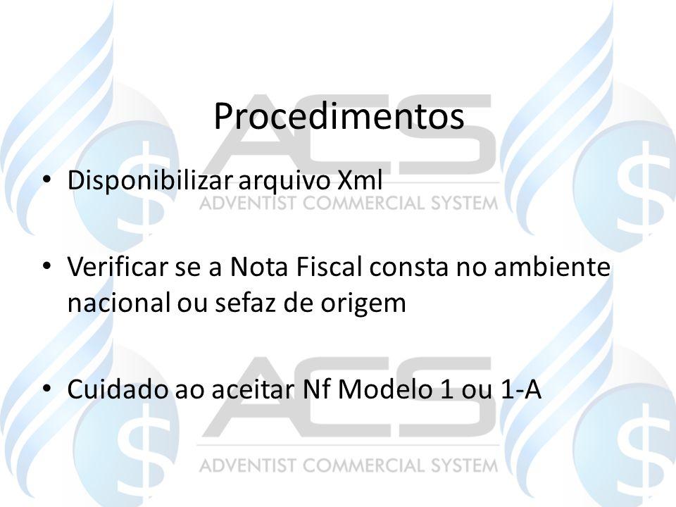 Procedimentos Disponibilizar arquivo Xml Verificar se a Nota Fiscal consta no ambiente nacional ou sefaz de origem Cuidado ao aceitar Nf Modelo 1 ou 1