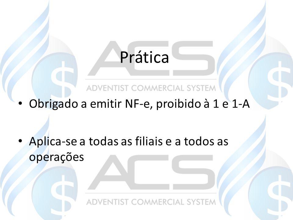 Prática Obrigado a emitir NF-e, proibido à 1 e 1-A Aplica-se a todas as filiais e a todos as operações