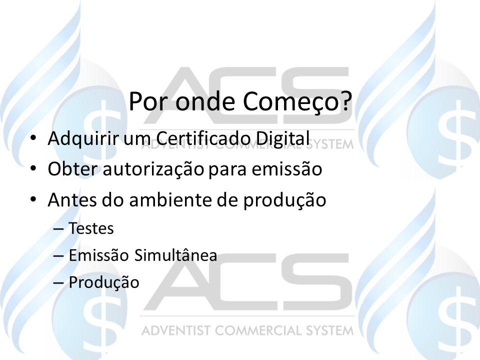 Por onde Começo? Adquirir um Certificado Digital Obter autorização para emissão Antes do ambiente de produção – Testes – Emissão Simultânea – Produção