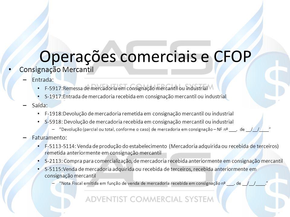 Operações comerciais e CFOP Consignação Mercantil – Entrada: F-5917:Remessa de mercadoria em consignação mercantil ou industrial S-1917:Entrada de mer