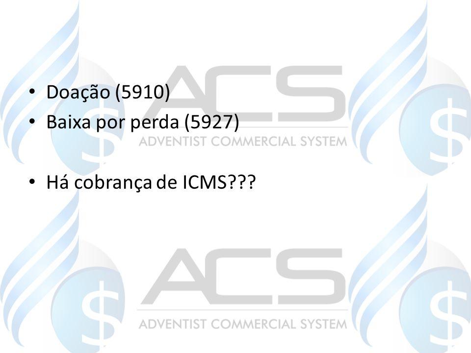 Doação (5910) Baixa por perda (5927) Há cobrança de ICMS???