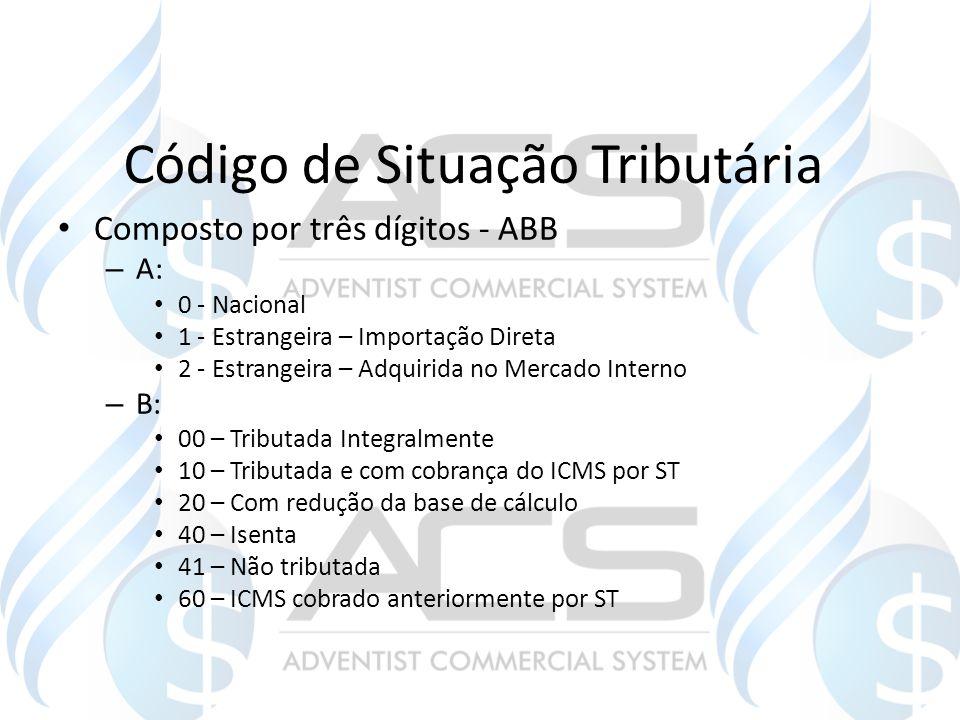 Código de Situação Tributária Composto por três dígitos - ABB – A: 0 - Nacional 1 - Estrangeira – Importação Direta 2 - Estrangeira – Adquirida no Mer