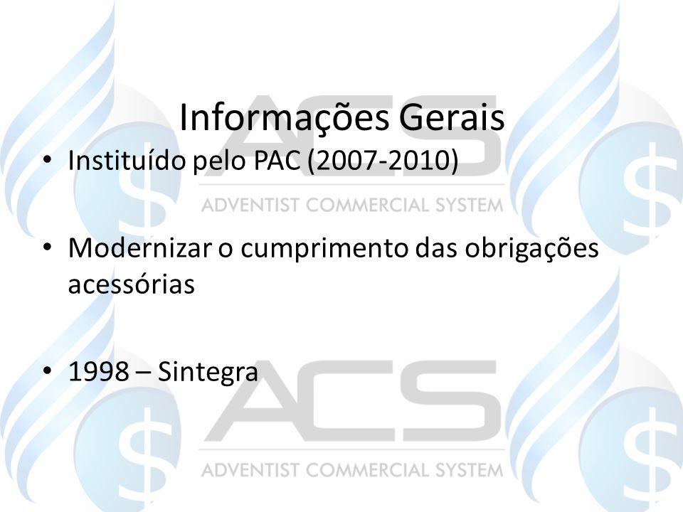 Informações Gerais Instituído pelo PAC (2007-2010) Modernizar o cumprimento das obrigações acessórias 1998 – Sintegra