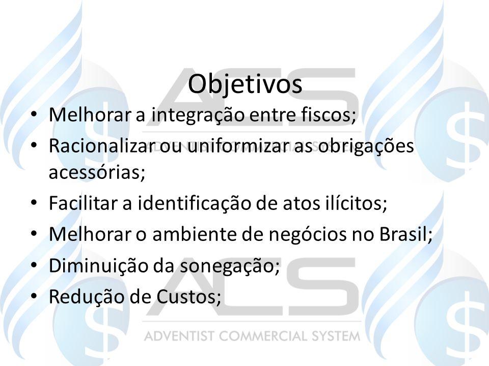 Objetivos Melhorar a integração entre fiscos; Racionalizar ou uniformizar as obrigações acessórias; Facilitar a identificação de atos ilícitos; Melhor