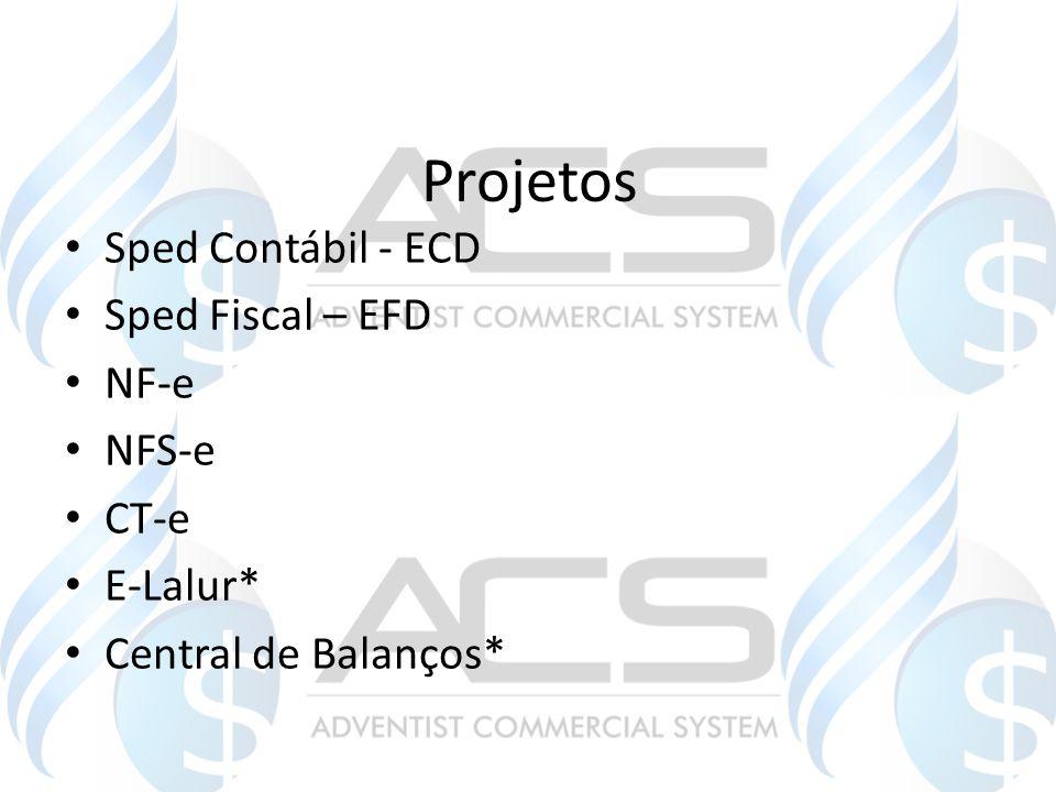 Projetos Sped Contábil - ECD Sped Fiscal – EFD NF-e NFS-e CT-e E-Lalur* Central de Balanços*