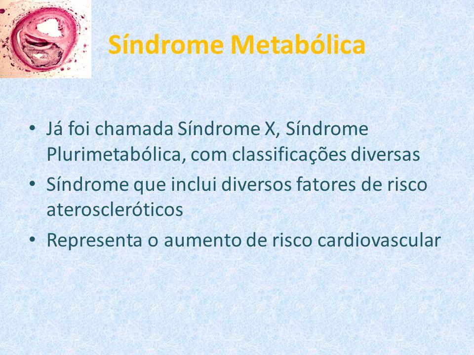 Síndrome Metabólica Já foi chamada Síndrome X, Síndrome Plurimetabólica, com classificações diversas Síndrome que inclui diversos fatores de risco ate