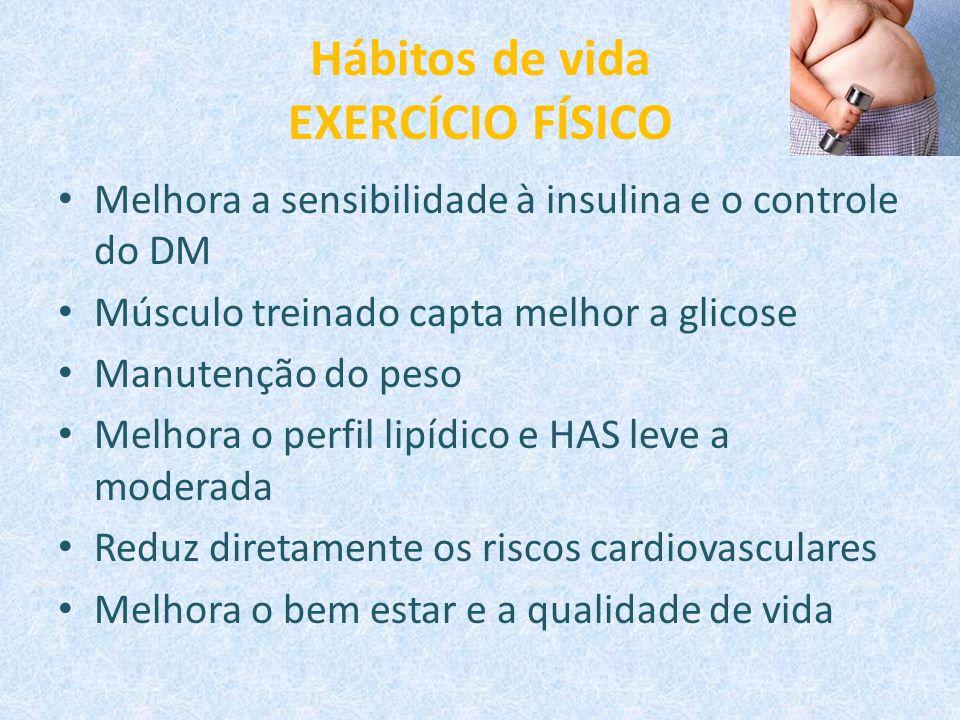 Hábitos de vida EXERCÍCIO FÍSICO Melhora a sensibilidade à insulina e o controle do DM Músculo treinado capta melhor a glicose Manutenção do peso Melh