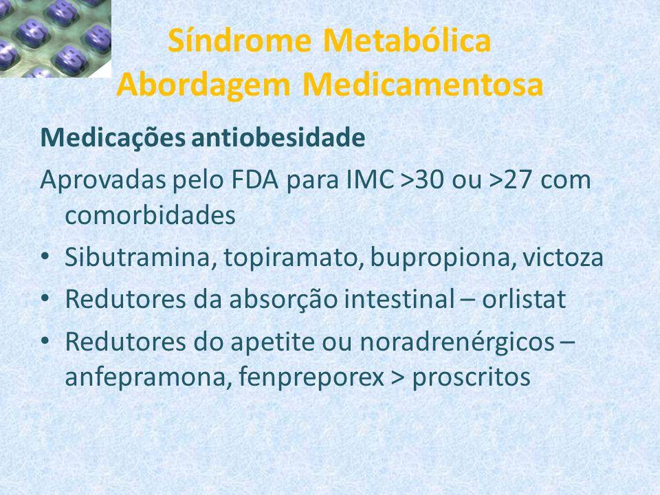 Síndrome Metabólica Abordagem Medicamentosa Medicações antiobesidade Aprovadas pelo FDA para IMC >30 ou >27 com comorbidades Sibutramina, topiramato,