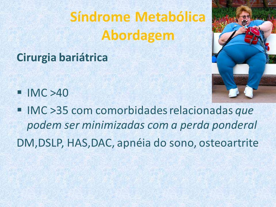 Síndrome Metabólica Abordagem Cirurgia bariátrica  IMC >40  IMC >35 com comorbidades relacionadas que podem ser minimizadas com a perda ponderal DM,