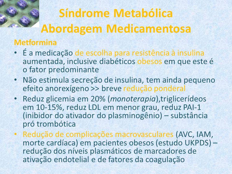 Síndrome Metabólica Abordagem Medicamentosa Metformina É a medicação de escolha para resistência à insulina aumentada, inclusive diabéticos obesos em