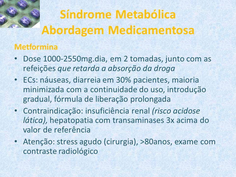 Síndrome Metabólica Abordagem Medicamentosa Metformina Dose 1000-2550mg.dia, em 2 tomadas, junto com as refeições que retarda a absorção da droga ECs: