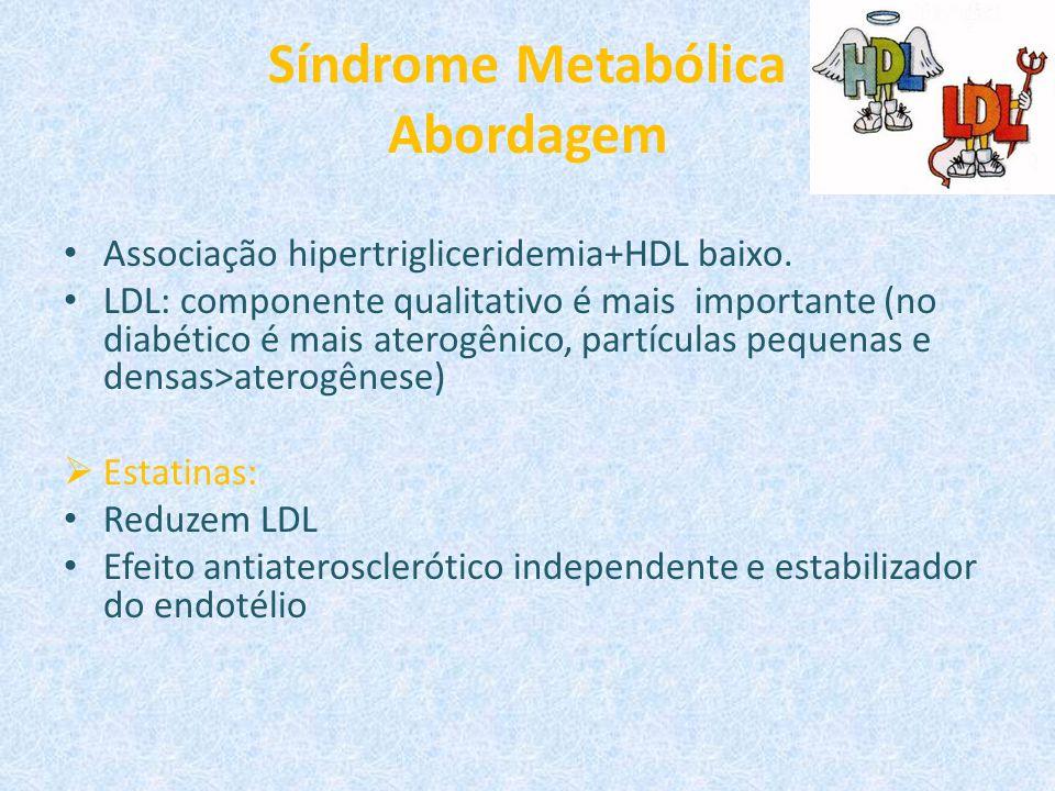 Síndrome Metabólica Abordagem Associação hipertrigliceridemia+HDL baixo. LDL: componente qualitativo é mais importante (no diabético é mais aterogênic