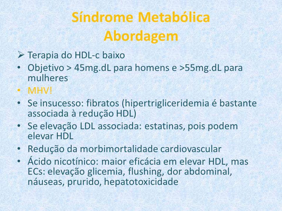Síndrome Metabólica Abordagem  Terapia do HDL-c baixo Objetivo > 45mg.dL para homens e >55mg.dL para mulheres MHV! Se insucesso: fibratos (hipertrigl