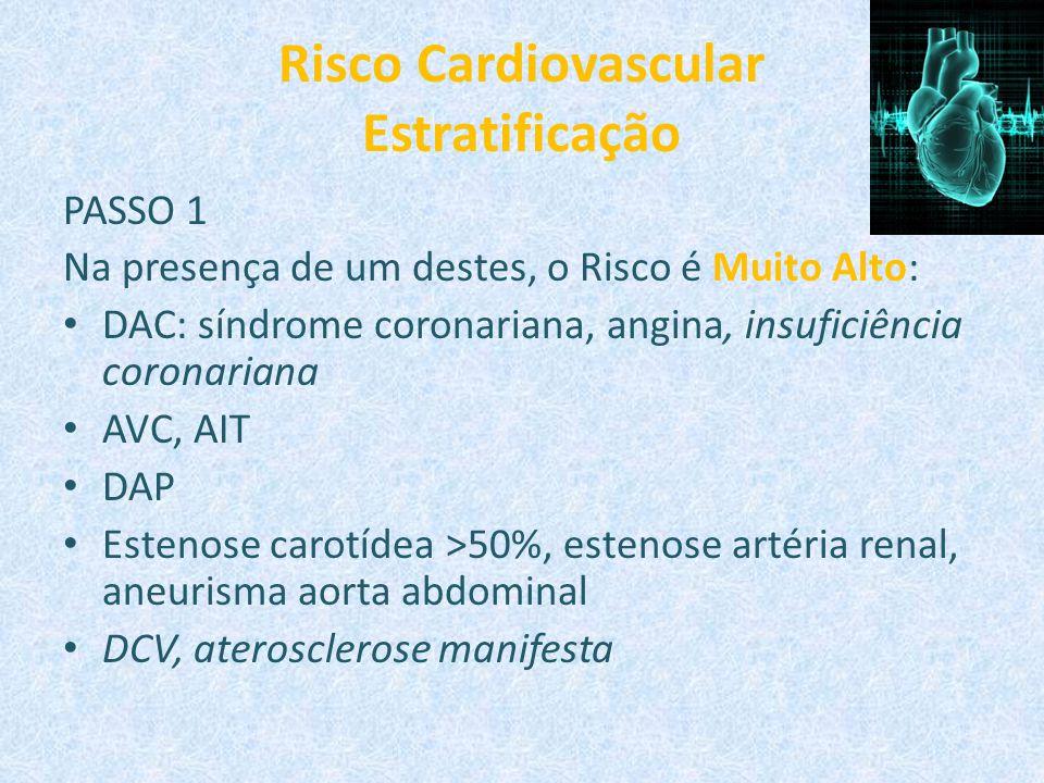Risco Cardiovascular Estratificação PASSO 1 Na presença de um destes, o Risco é Muito Alto: DAC: síndrome coronariana, angina, insuficiência coronaria
