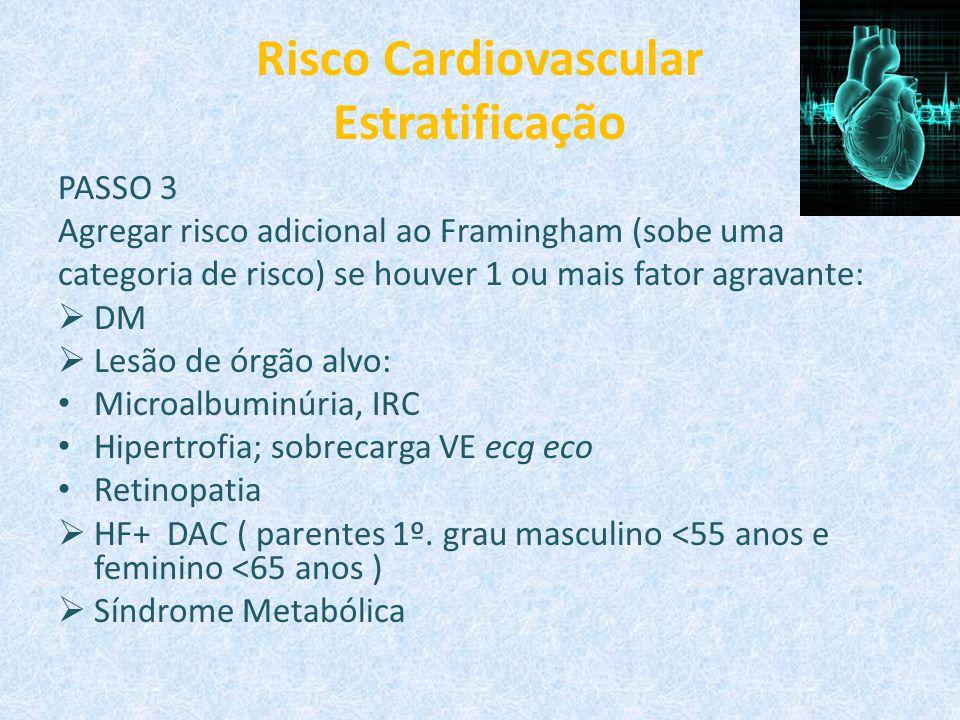 Risco Cardiovascular Estratificação PASSO 3 Agregar risco adicional ao Framingham (sobe uma categoria de risco) se houver 1 ou mais fator agravante: 