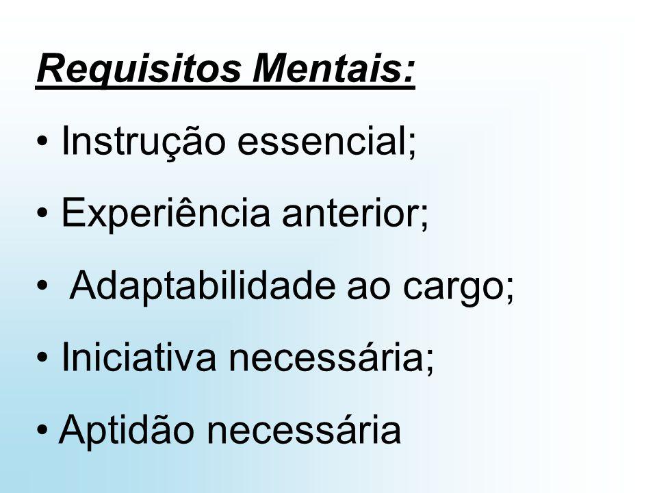 Requisitos Físicos: Esforço Físico necessário; Concentração visual; Destreza ou habilidade;