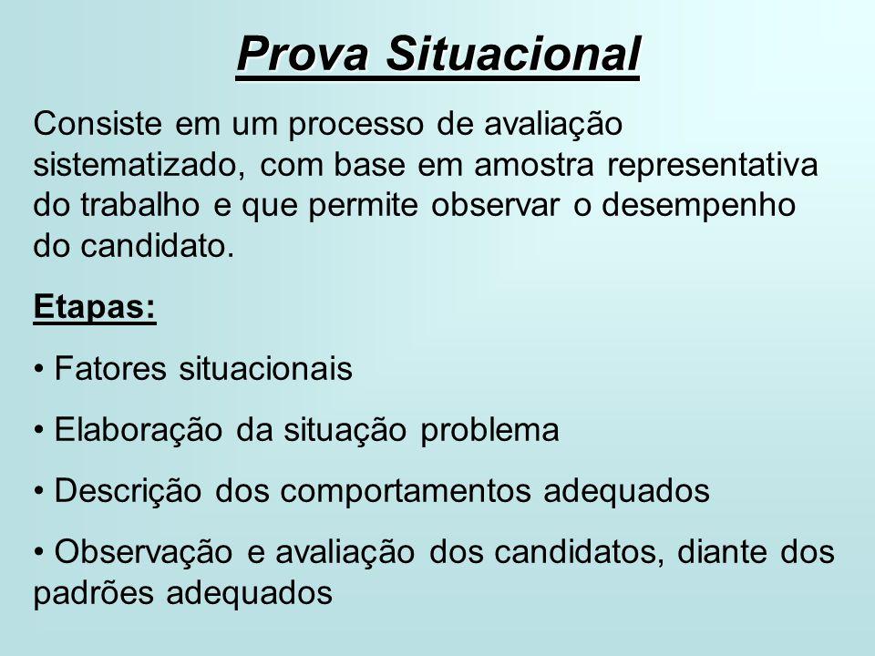 Prova Situacional Consiste em um processo de avaliação sistematizado, com base em amostra representativa do trabalho e que permite observar o desempenho do candidato.