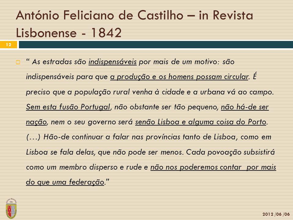 António Feliciano de Castilho – in Revista Lisbonense - 1842 2012 /06 /06 12  As estradas são indispensáveis por mais de um motivo: são indispensáveis para que a produção e os homens possam circular.