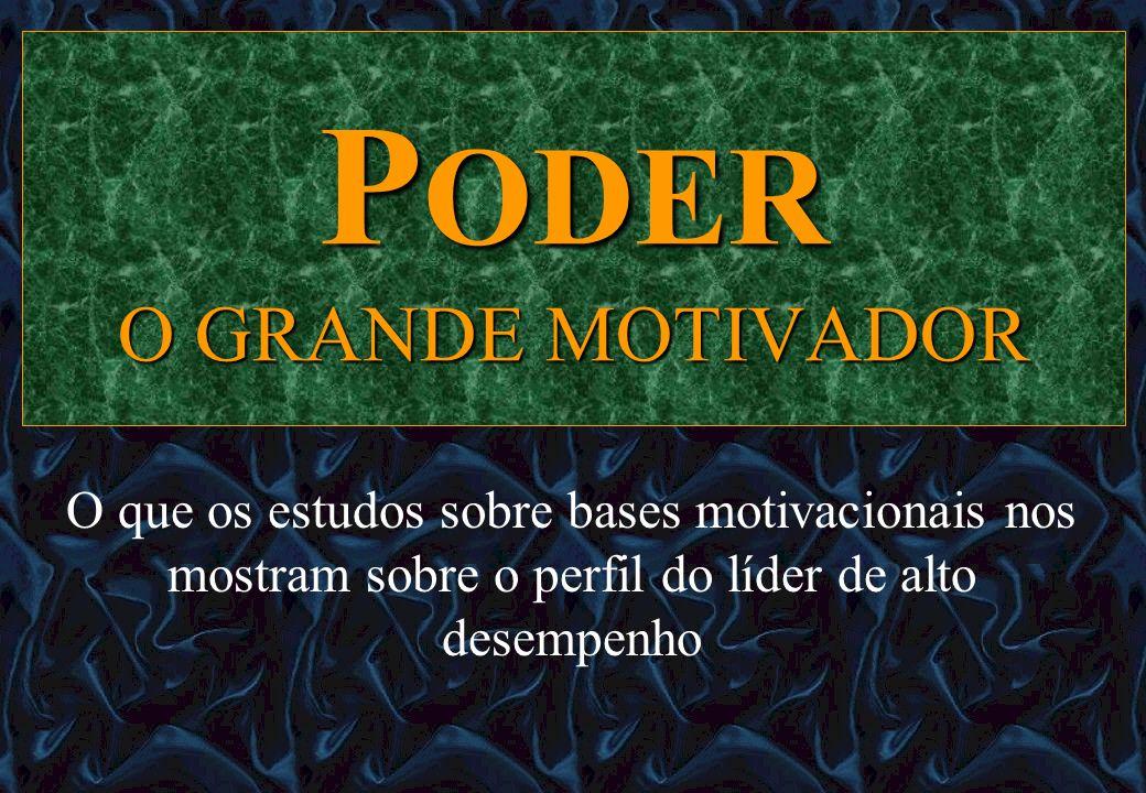 PODER O GRANDE MOTIVADOR O que os estudos sobre bases motivacionais nos mostram sobre o perfil do líder de alto desempenho